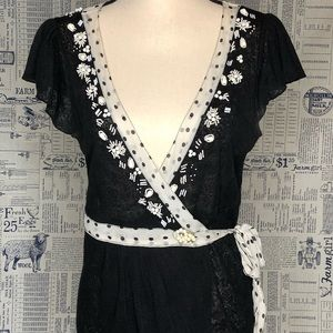 Deletta Anthropology Wrap Top with Vintage Accents